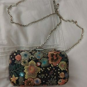 Zara embroidered box clutch